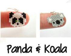 Panda y Koala mini #Miyuki #peyote