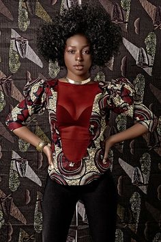 top en wax par valouan - Hauts, T-shirts, debardeurs - Afrikrea Top Rouge, Afrocentric Clothing, Ankara Designs, Africa Fashion, African Wear, Wax, Creations, Wonder Woman, Saree