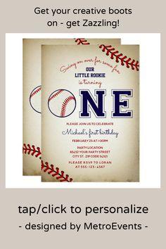 Baseball First Birthday Party Invitation Baseball First Birthday, Sports Birthday, Art Birthday, Sports Party, Birthday Design, First Birthday Parties, First Birthdays, First Birthday Invitations, Just Giving