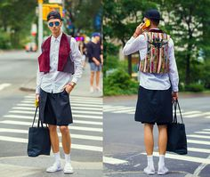 Chaby H. - Zsigmond Dora Menswear Velvet And Embroidered Vest,, Zsigmond Dora Menswear Short With Skirt,, Nike White Slipper, Vintage White Shirt, Moschino Iphone Case, Cruciani Bracelet, Giantvintage Blue Lens Sunglasses - NYFW DAY 1