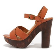 Crossed in the Shuffle Chestnut Brown Platform Sandals ($35) ❤ liked on Polyvore featuring shoes, sandals, brown, peep toe platform sandals, platform sandals, brown high heel sandals, strappy sandals and brown sandals
