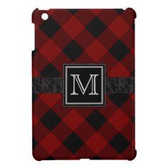 Monogram Rugged Red and Black Plaid iPad Mini Covers