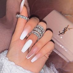 In search for some nail designs and ideas for your nails? Listed here is our list of must-try coffin acrylic nails for fashionable women. Bling Acrylic Nails, Acrylic Nails Coffin Short, White Acrylic Nails, Best Acrylic Nails, Acrylic Nail Designs, Gel Nails, Glitter Nails, Long Nail Designs, Rhinestone Nails