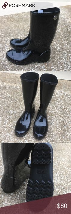 Black ugg rain boots Black UGG Shaye rain boots in like new condition UGG Shoes Winter & Rain Boots