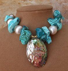 Sponge Coral Jewelry | ... AQUA BLUE RAW CORAL SPONGE BIG NECKLACE ABALONE PEARL PENDANT SILVER