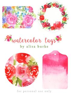 download free  http://alisaburke.blogspot.com/2016/12/watercolor-gift-tags-for-you.html