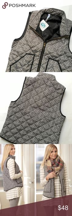 JUST IN! Herringbone Puffer Vest NWT! 100% polyester Trendy Herringbone Puffer Vest with black trim- very high quality! (Herringbone is printed, & is pretty identical to the J. Crew version.) I have 2 available in size small (2/4). Price is set at $48 per vest and is non-negotiable. ❌No Trades❌   🇺🇸Proudly Made in the USA🇺🇸 *Third picture is from online and is only for style inspiration* Only vest is for sale.. Madewell bag is just for styling purposes! Infinity Raine Jackets & Coats…