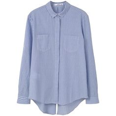 Striped Cotton Shirt (733.840 VND) ❤ liked on Polyvore featuring tops, long sleeve collared shirts, blue striped shirt, blue collared shirt, long sleeve tops and cotton shirts
