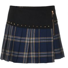 Juicy Couture Eton Plaid Regal Studded Wool-Blend Skirt ($235) ❤ liked on Polyvore