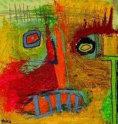 Personal collection.     Obey Hoke Outsider Abstract Raw Art Brut Painting Original Graffiti