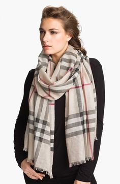 Burberry Giant Check Print Wool & Silk Scarf on shopstyle.com