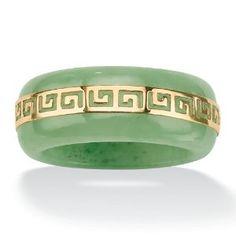 PalmBeach Jewelry 14K Gold Jade Green Greek Key Womens Ring