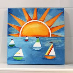 sun and sea Art Drawings For Kids, Easy Drawings, Art For Kids, Oil Pastel Drawings, Oil Pastel Art, Kindergarten Art Lessons, Art Lessons Elementary, Kids Canvas, Canvas Art
