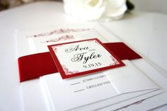 Elegant Red Wedding Invitation - Elegant Wedding Invitation, Simple, Sophisticated, Formal Wedding Invitation, Wedding Invites - SAMPLE SET #vintageweddinginvitations