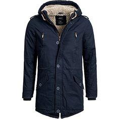4ae80a337378 Herren Wärmejacke Parka Jacke Winterjacke Kapuze Übergangsjacke  Kapuzenparka Jacket Mantel Wintermantel Mens Winter Coat Gefüttert (