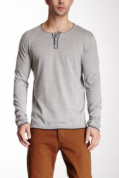 Tipped 3-Button Henley  Women #Men #Shirts
