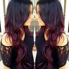 Shaded Hair on a Brown or Brown Base: This is the Ideal Idea for Successful Coloring Hair Color Ideas Red Ombre, Ombre Hair Color, Purple Hair, Burgundy Hair Ombre, Dark Ombre, Red Burgundy, Dark Purple, Hair Colors, Auburn Ombre