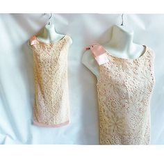Vintage 60s Dress Size M Pink Lace Mod Cocktail Shift 50s Wedding Reception Bow