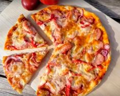 Ingredients:For the dough:Flour - 400 g + for sprinkling the baking sheetSalt - 1 tspBaking powder - 1 tsp (heaped)Water - 200 mlVegetable oil - 5 tea. Quick Pizza, No Flour Cookies, Stuffed Sweet Peppers, Food Categories, Food Packaging, Food Illustrations, Pizza Dough, Hawaiian Pizza, Food Design