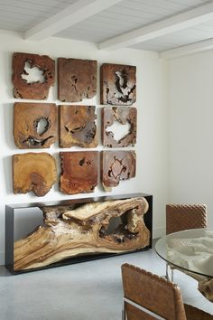 Rustic Contemporary Interior Design Add rustic wall art to contemporary home to emphasize your creativity. Rustic Furniture, Diy Furniture, Furniture Design, Furniture Projects, Live Edge Furniture, Unique Furniture, Rustic Contemporary, Contemporary Interior Design, Wood Interior Design