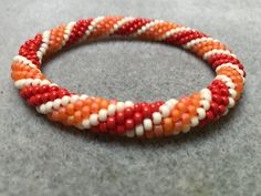 Candy cane beaded crochet bangle