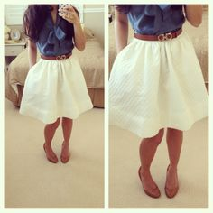 H&M white flared skirt + Ann Taylor silk tie neck blouse + Ferragamo reversible belt