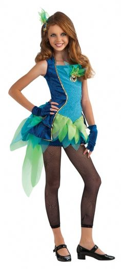 Teen Girls Peacock Costume - This is a peacock costume. This ornate dress is covered in sequins and sparkles. This is a four piece costume with a dress, shorts, gloves and a hairpiece. The dress is velveteen with sparkly fabric down the front of the bodice with sequin and crinoline adornments. The back of the dress laces up for an adjustable fit. #peacock #yyc #calgary #costume #teen