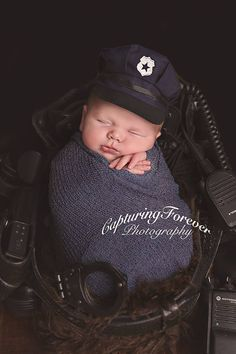 Little police hats are back in stock! Ready to ship for your next little officer! Adorable photo by  Capturing Forever Photography Newborn clothing photography props