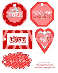 Free printable Valentine tags.  Love the colors!