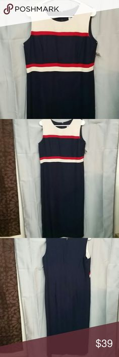R&m Richards by Karen kwong size 14 petite This is new with tags colors are navy red and cream sleeveless zips halfway down the back has a 12-inch slit at the bottom dresses 100% polyester measurements laying flat armpit to armpit is 20 inches length from shoulder down is 49 inches size 14 petite R & M Richards Dresses