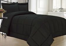 Black Comforter Set Soft Plush Down Alternative Bedding Queen or King Shams