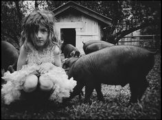 Southern Documentary Black and White Photography - Girl and Pigs images, photographer Kathryn Oliver