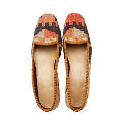 KILIM SHOES size 39 | NOMADA Our kilims are all hand made and one of a kind. They are from 1930s-1950s. They were produced by Anatolian women to be used in their houses. Each shoe is handmade, crafted from vintage hand-woven Turkish kilims, and finished with a durable leather sole and rubber heel. Our pairs of loafers is a one-of-a-kind. It is literally impossible to create two identical pairs of shoes, so they competely unique, never to be exactly reproduced.