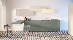 A modular kitchen, customisable for your spaces. Find out all the available colours and finishings.