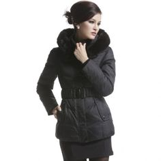 Faux Fur Shawl Collar Hooded Belted Down Jacket