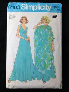 Vintage Pattern Simplicity 7183 Maxi Dress by momandpopcultureshop