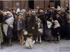 May 27, 1944  Jewish women and children arriving at the Auschwitz-Birkenau extermination camp in occupied Poland.  They were removed from the deportation trains onto the ramp where they faced a selection process - some were sent immediately to their deaths, while others were sent to slave labor.  This photo is from the Auschwitz Album, a collection of 193 photos that serve as the only surviving visual evidence of the process leading to the mass murder at Auschwitz-Birkenau. #colorized
