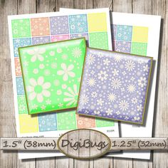 Digital Collage Sheet, Pastel Color Squares, Printable Floral Pattern, 1.5 inch, 1.25 inch Squares, Floral Jewelry Supply, Baby Colors, c7 Jewelry Supplies, Diy Jewelry, Unique Jewelry, Pattern Mixing, Collage Sheet, Digital Collage, Pastel Colors, Squares, Printables