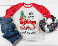 80bc5336b This is my Hallmark Christmas movie watching shirt - Unisex 3/4 Sleeve  Baseball Tee