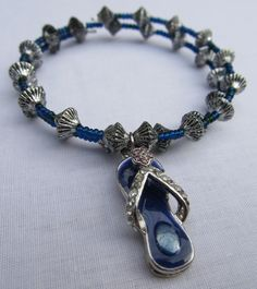 Blue and Silver Flip Flop Charm Memory Wire Bracelet. $10.00, via Etsy.