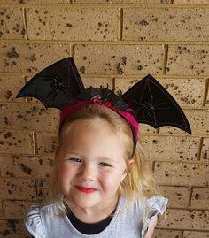 Halloween Headband Bat Wings with Spiders by LindyLoosTreasures