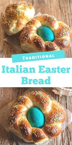 Mar 2020 - This Traditional Italian Easter Bread is a soft sweet brioche dough formed into wreaths or braided. Coloured eggs are baked into the bread and the bread is sprinkled with lots of nonpareils. Festive and bright for the Easter Holiday. Easter Bread Recipe, Easter Recipes, Appetizer Recipes, Italian Dinner Recipes, Best Italian Recipes, Italian Foods, Favorite Recipes, Italian Desserts, Easter Lunch