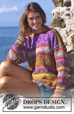 Sweater with multicolored borders - free pattern