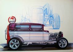 Old hot rod drawing