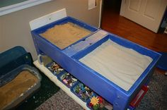 wet and dry sand area for play therapy