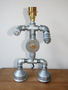 Industrial Pipework Table Robot Lamp Steampunk by ZEDHEAD on Etsy, £85.00