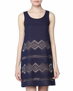 Geometric Laser Cut Chiffon Dress, Indigo/Tan by Neiman Marcus at Neiman Marcus Last Call.