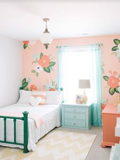Hand painted flowers on the walls, oversized