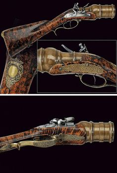 A very rare flintlock grenade launcher, probably Russian, mid 18th century.