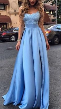 A line Slit Prom Dress,Sexy Slit Evening Dress,Ice